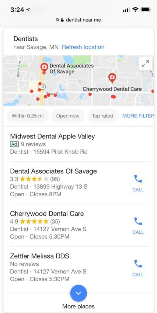 "Google Search For ""Dentists Near Me"""
