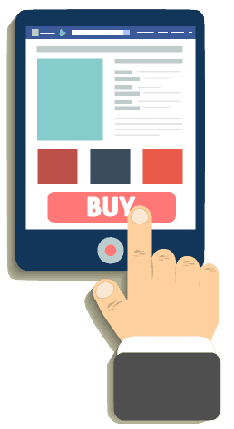 An illustration of a hand pressing the buy button on a website.